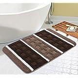 Saral Home Soft Microfiber Anti Slip Stripe Bathmat (Brown, 50x80cms)