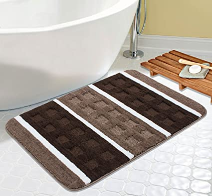 Saral Home Soft Microfiber Anti Slip Stripe Bathmat (Brown, 50x80cms)