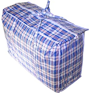 "Cotton Fly Jumbo Plastic Checkered Storage Laundry Shopping Bags W. Zipper & Handles Size=27"" x 25"" x5"" (6 Pack)"