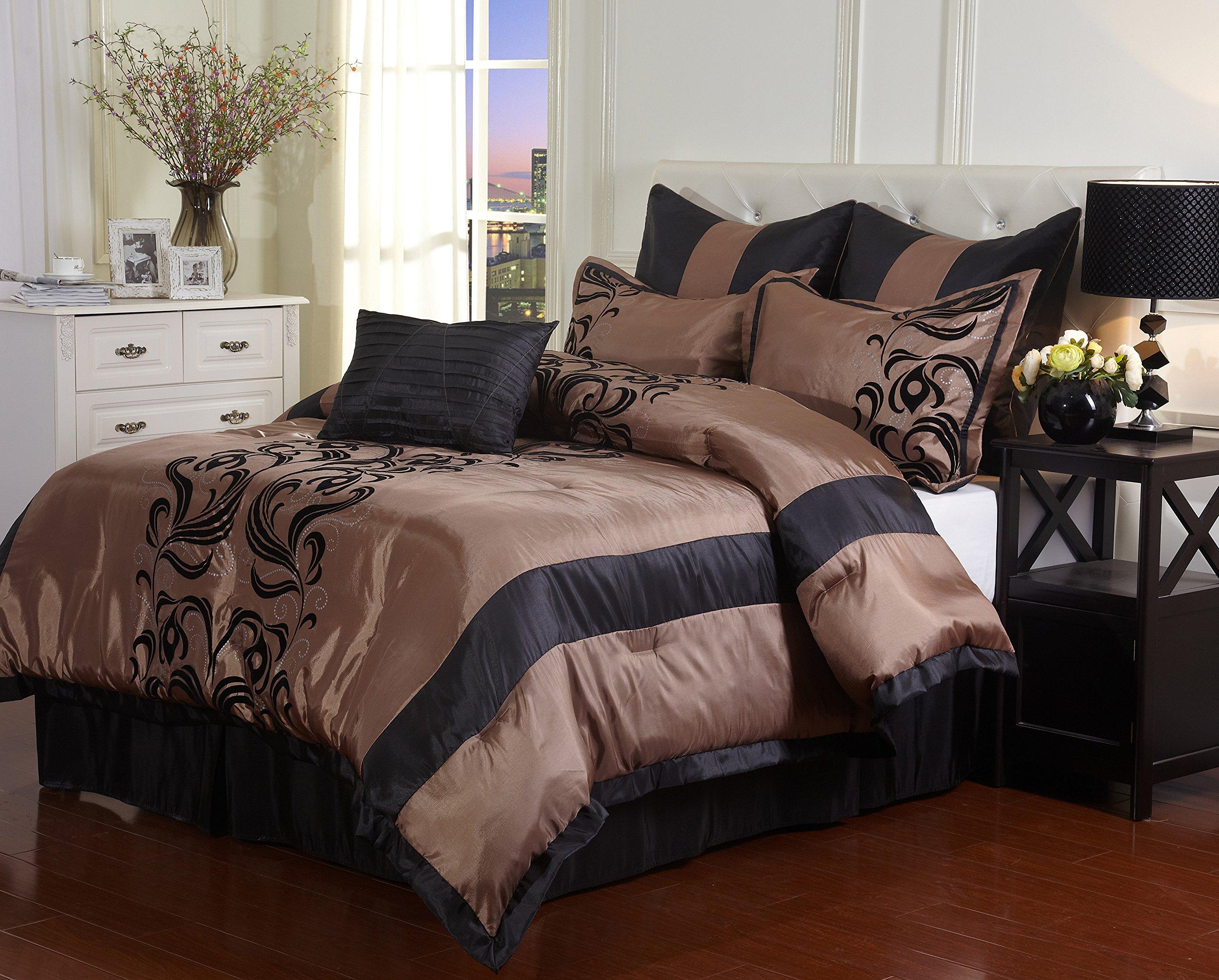 Nanshing America Madeline 7 Piece Bedding Set, California King, Bronze/Black