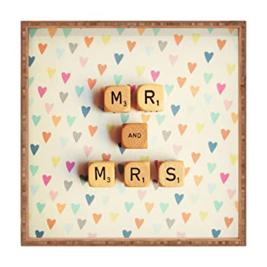 Deny Designs Happee Monkee Mr And Mrs Indoor/Outdoor Square Tray, 12 x 12