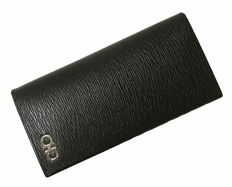 [フェラガモ] 長財布 メンズ カード大容量(ブラック×フィヨルドブルー) SF-2245 [並行輸入品] B07BHGQBF8