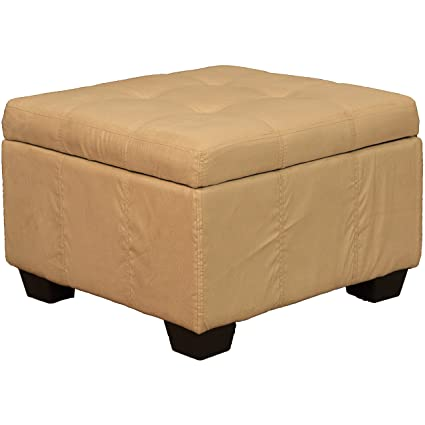 Awe Inspiring 24 X 24 X 18 High Tufted Padded Hinged Storage Ottoman Bench Microfiber Suede Khaki Alphanode Cool Chair Designs And Ideas Alphanodeonline