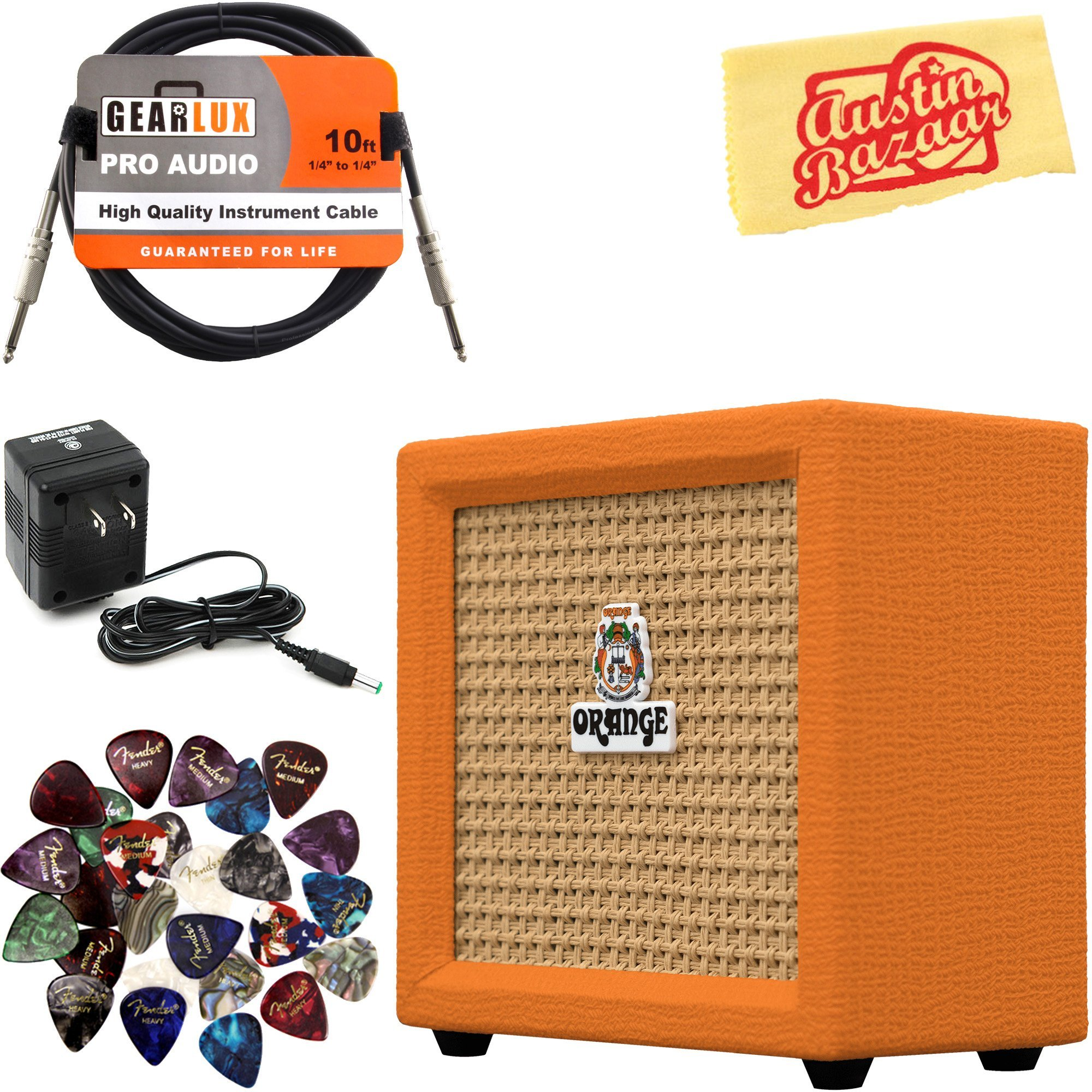 Orange Amplification Crush Mini Guitar Combo Amplifier Bundle with Power Supply, Instrument Cable, Pick Sampler, and Austin Bazaar Polishing Cloth