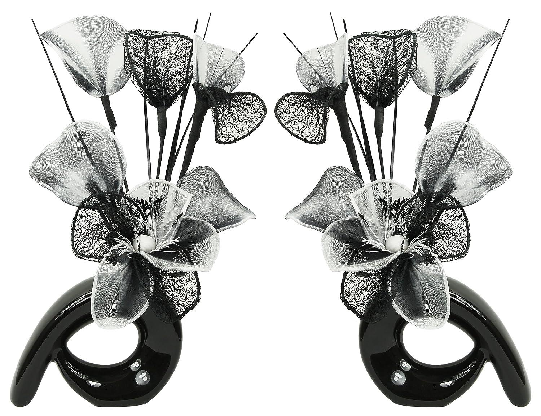 Flourish 794194 - Set di 2 Fiori Artificiali in Coordinato, da 32 cm, in Vaso, Nero/Bianco