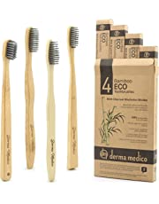 Charcoal Bamboo Toothbrush by Derma Medico Pack of 4 Beautifully Crafted Bamboo Toothbrushes Soft Black Charcoal Bristles