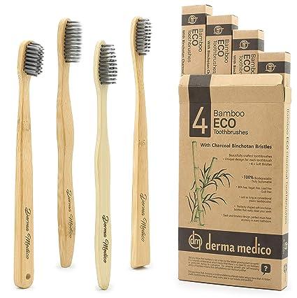 Cepillo de dientes de carbón de bambú por Derma Medico Paquete de 4 Cepillos de dientes
