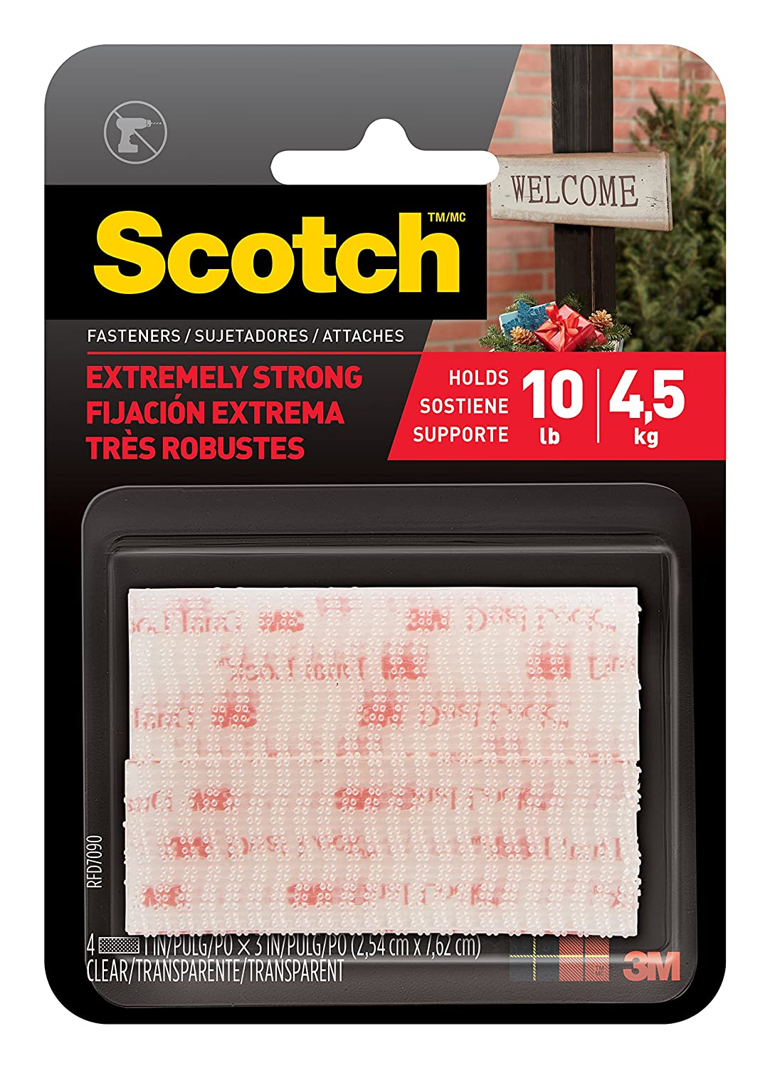 Scotch(R) All-Weather Fasteners, 2 Sets of 1 Inch x 3 Inches, Strips, Clear (RFD7090) 3M Office Products