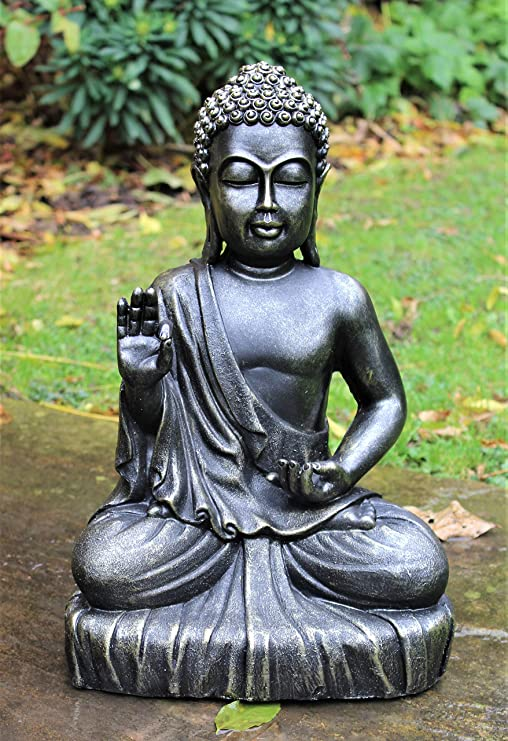 HOME HUT Estatua Decorativa de Buda Sentado, Grande, Efecto Bronce, para jardín, Interior, Exterior, decoración tailandesa: Amazon.es: Jardín