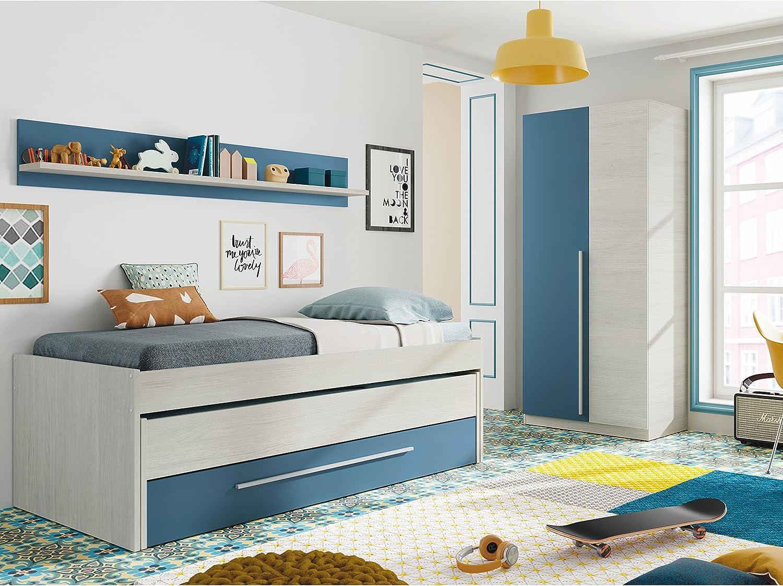 Habitdesign Cama Nido Juvenil, Dos Camas y Un Cajón,Modelo WIC, Acabado en Color Blanco Alpes y Azul, Medidas: 200 cm (Ancho) x 69 cm (Alto) x 96 cm ...