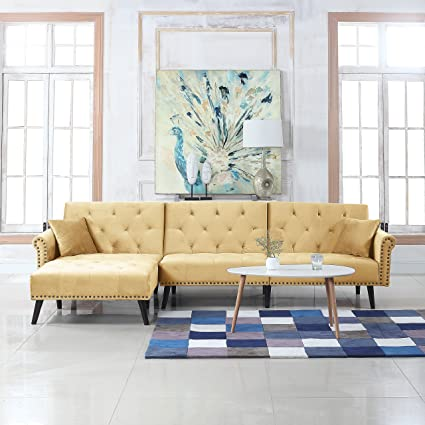 Divano Roma Furniture Mid Century Modern Style Velvet Sleeper Futon Sofa Living Room L Shape