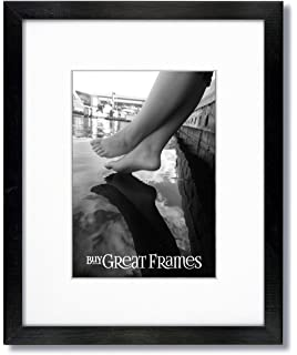 One 16x20 Black Wood Picture Frames And Clear Glass With Single White Mat For 12x16