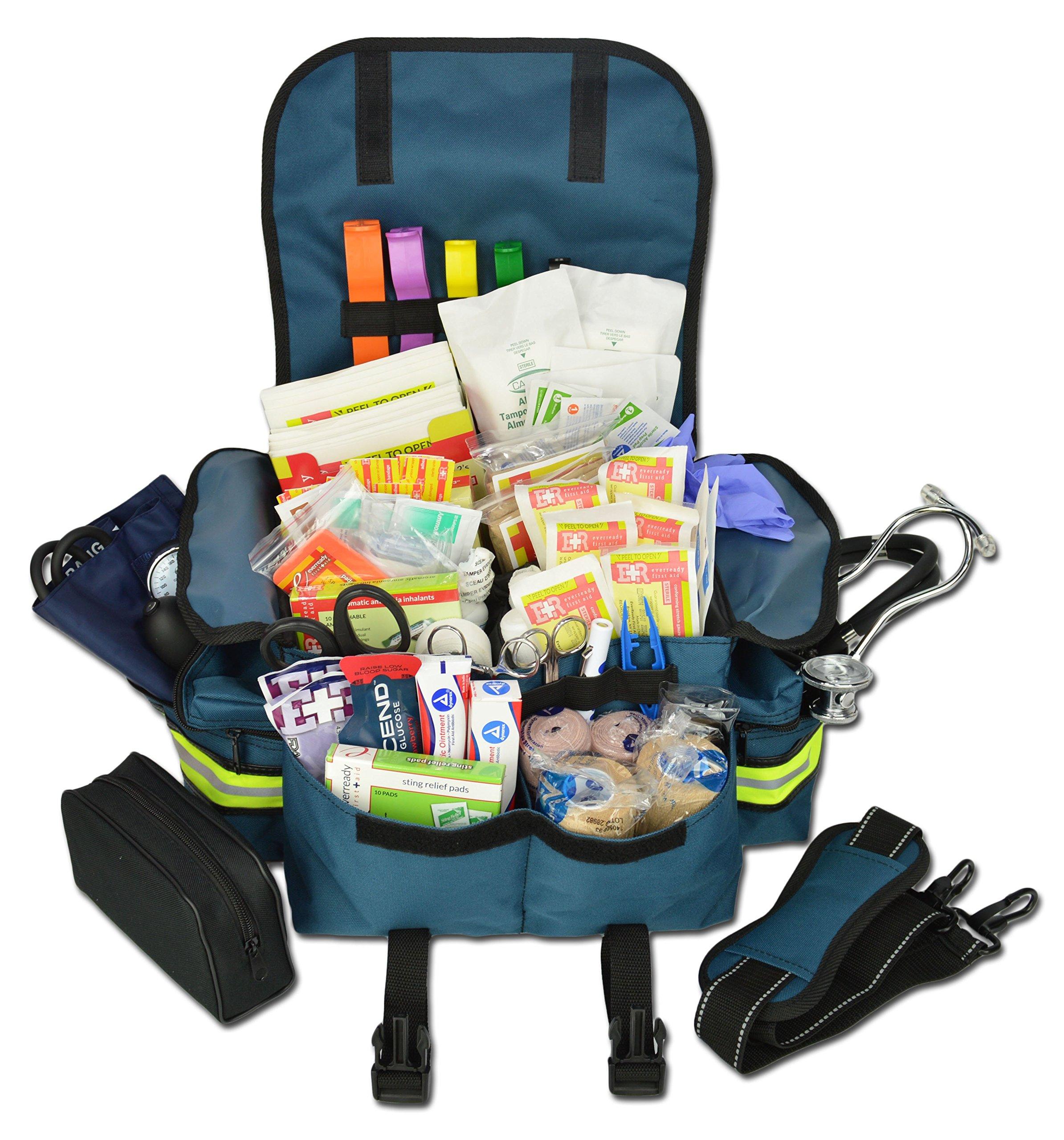 Lightning X Small First Responder EMT EMS Trauma Bag Stocked First Aid Fill Kit B (Navy Blue)