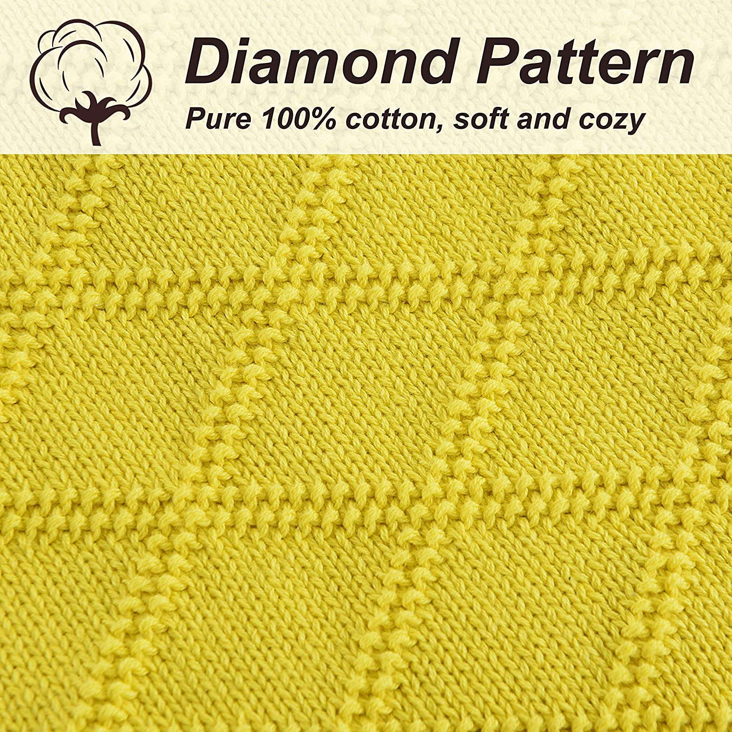 Cable Knit Throw Blanket 100/% Cotton Bed Throws Blanket for Couch Chairs Home Decorative 51x70in