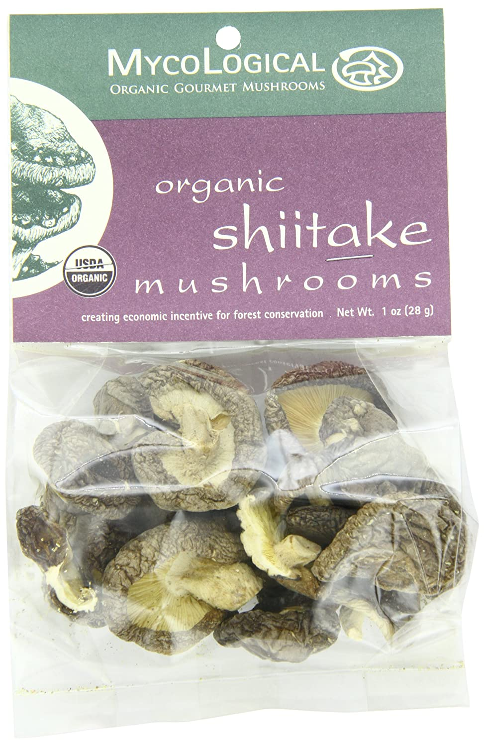 Mycological Dried Organic Shiitake Mushrooms, 1-Ounce Packages (Pack of 6)