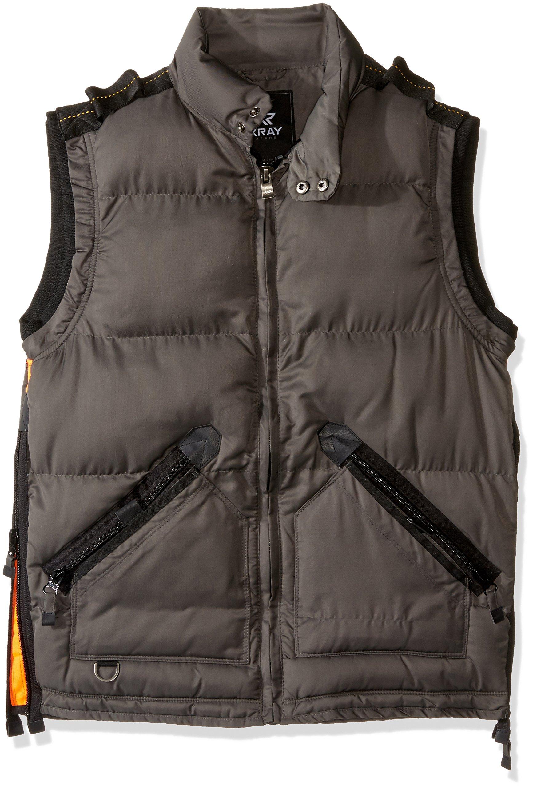 X-Ray Men's Slim Fit Puffer Vest, Charcoal, XL