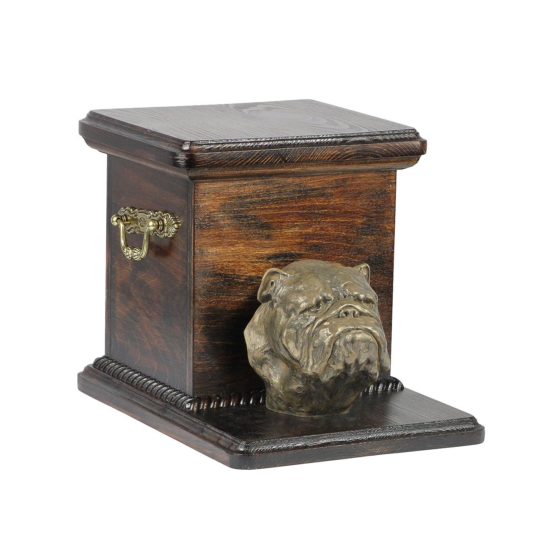 English British Bulldog, memorial, urn for dog's ashes, with dog statue, ArtDog