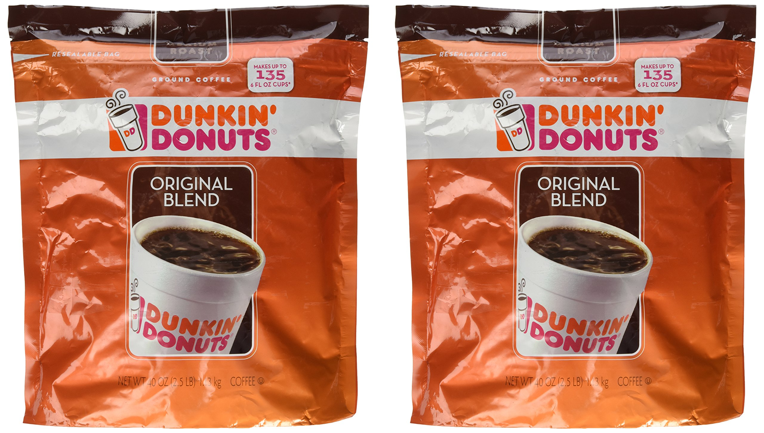 Dunkin' Donuts Original Blend Coffee 40oz - 2 Bags Of 40 oz each