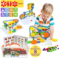 ETI Toys | STEM Learning | 192 Piece Jumbo Gears Set with Resizeable Interlocking Chain, Connector Pieces and 2 Pegboards; Build Endless Designs! Best Gift, Toy for 3, 4, 5 Year Old Boys and Girls.