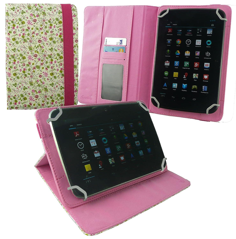 Emartbuy® Bq Edison 3 Mini 8 Inch Tablet Universal Range Floral Rosa/Verde Ángulo Múltiples Executive Folio Funda Carcasa Wallet Case Cover con ...