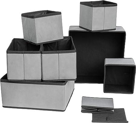 MCs Goods - Juego de 4 Cajas de Almacenamiento Plegables de Tela para Guardar Ropa Interior, Calcetines, etc. Caja de Tela para cajones, armarios, Sistemas de ordenación en Gris, Gris, 8er Set: