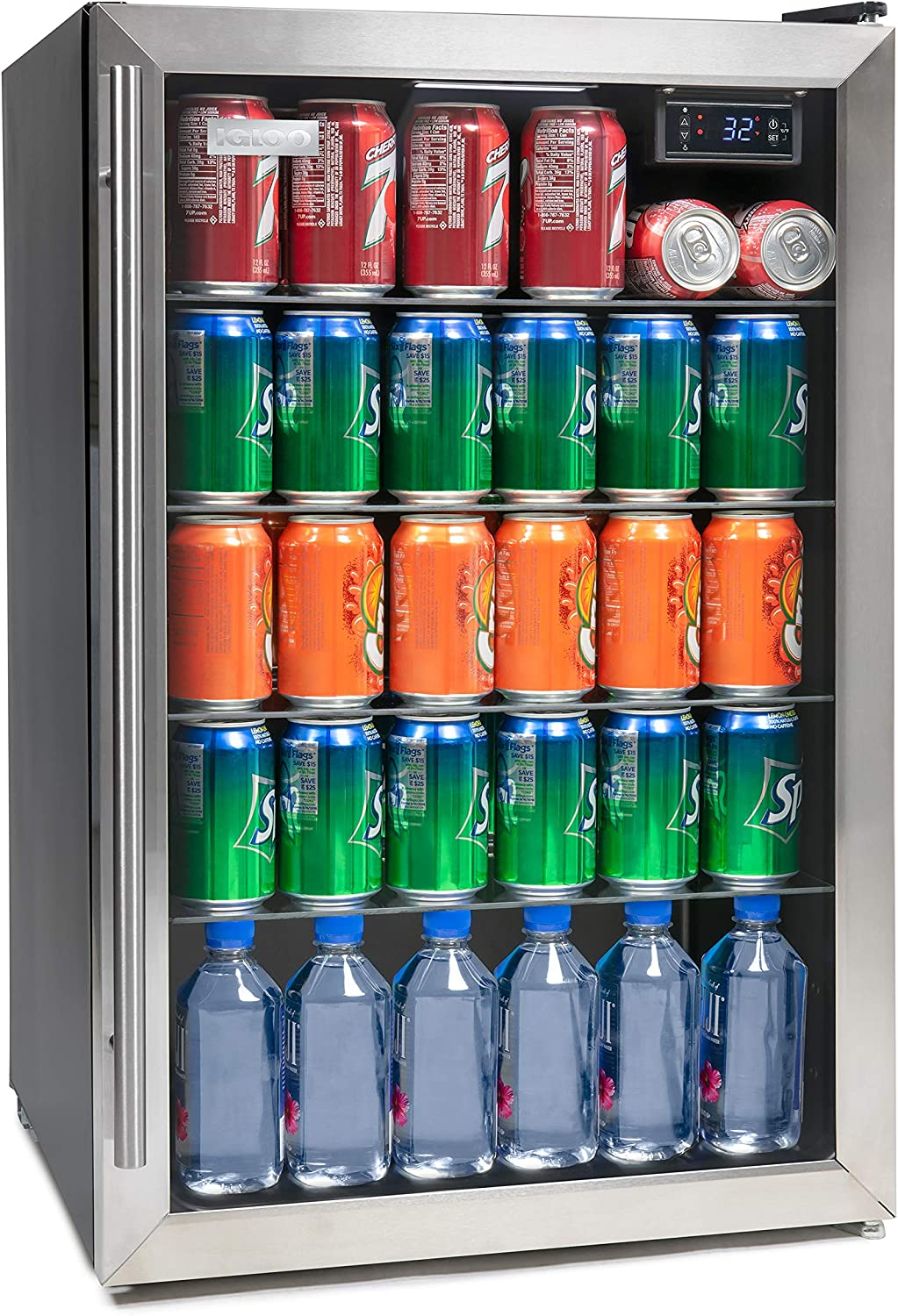 Igloo IBC41SS New And Improved 180-Can Capacity Stainless Steel LED-Lighted Digitally Controlled Double-Pane Glass Door Beverage Center Refrigerator and Cooler for Soda, Beer, Wine and Water