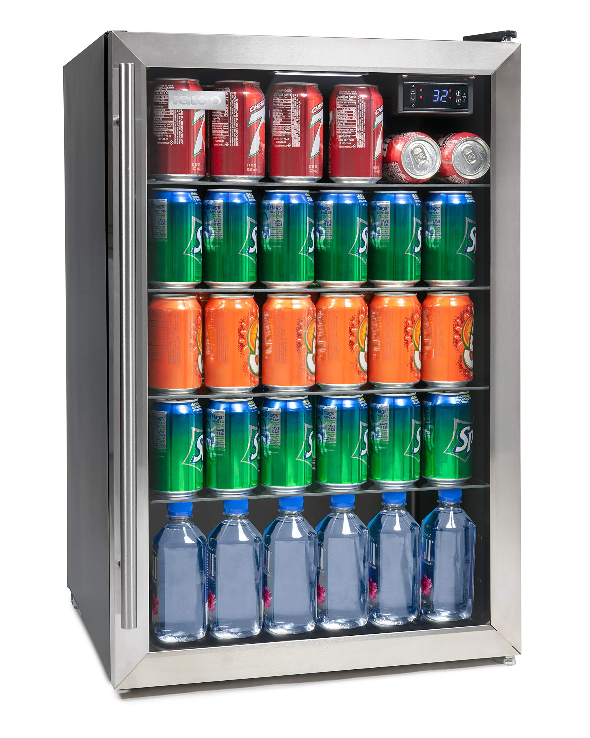Igloo IBC41SS 180-Can Capacity Stainless Steel LED-Lighted Double-Pane Glass Door Beverage Center Refrigerator and Cooler for Soda, Beer, Wine and Water with Digital Thermostat,
