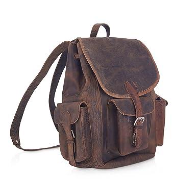"cf3ae6444 KomalC 15"" Vintage Genuine Buffalo Leather Backpack Rucksack Travel Bag  College BagSALE"