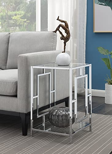 Convenience Concepts Town Square Chrome End Table, Clear Glass Chrome Frame