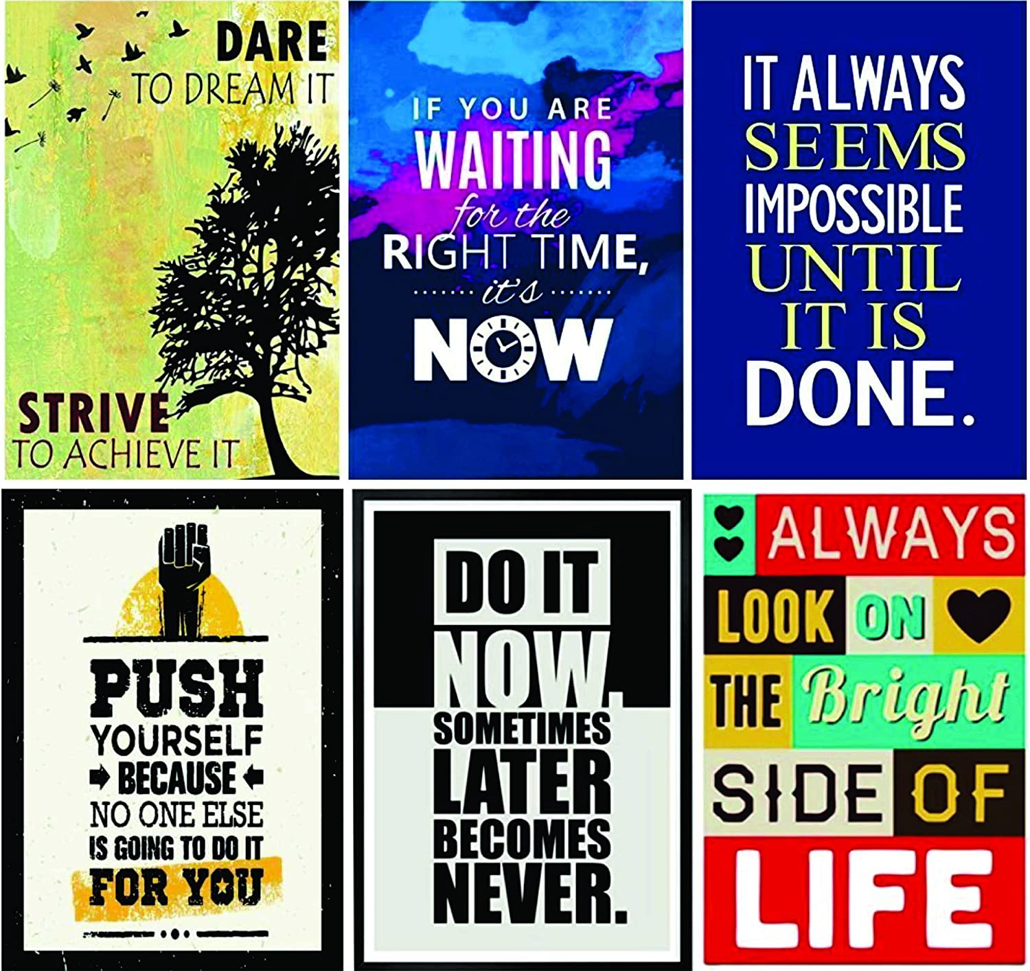 Paper Plane Design Quote and Motivational Posters Set of 6 Size 12X18