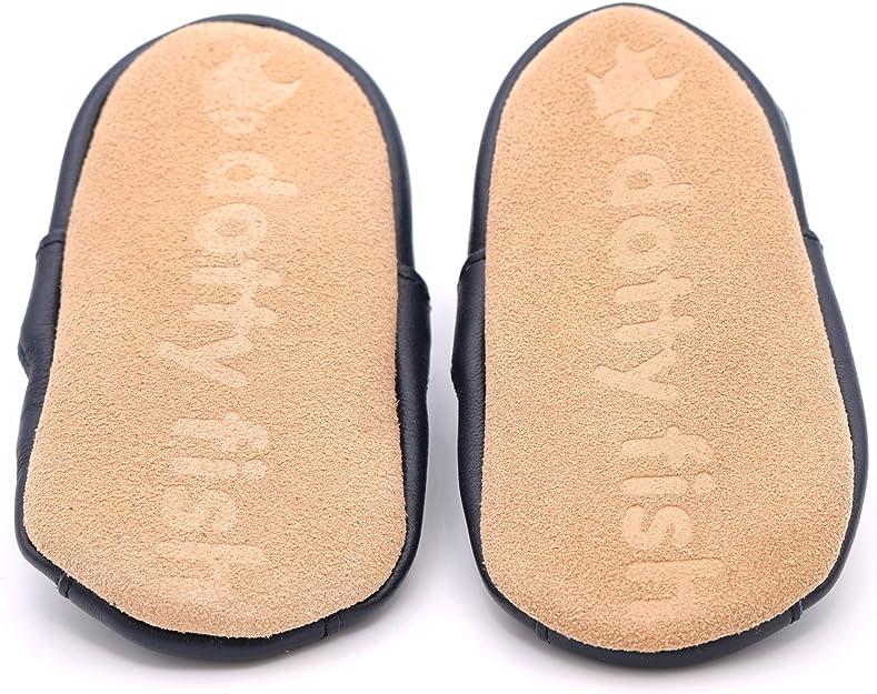 Dotty Fish Zapatos de Cuero Suave para beb/és Ni/ños Primeros Pasos. Antideslizante 0-6 Meses a 4-5 A/ños