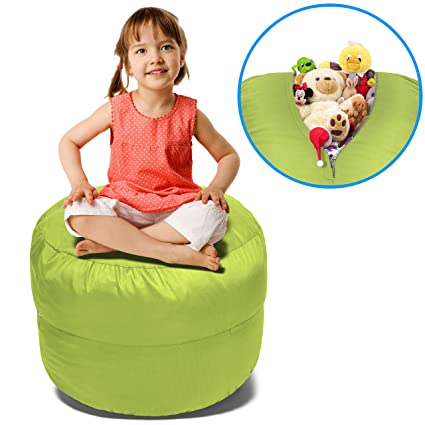 Stuffed Animal Bean Bag Storage Chair In Green   2.5ft Large Stuff U0027n Sit