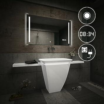 beau miroir salle de bain lumineux led interrupteur tactile led horloge prise lectrique