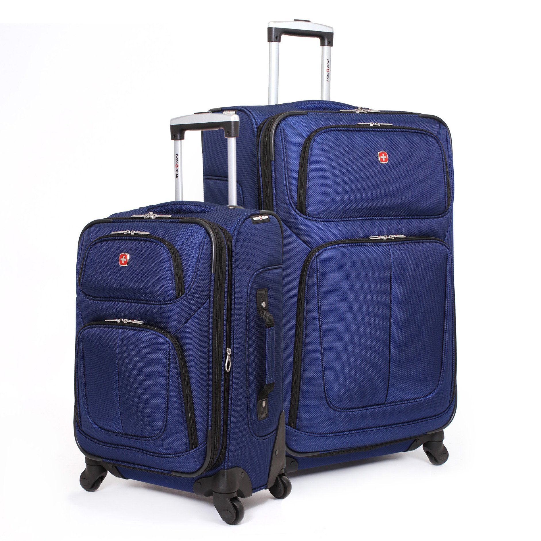 SwissGear 2 PC Spinner Wheel Black Suitcase Set - Softshell & Lightweight (Blue)