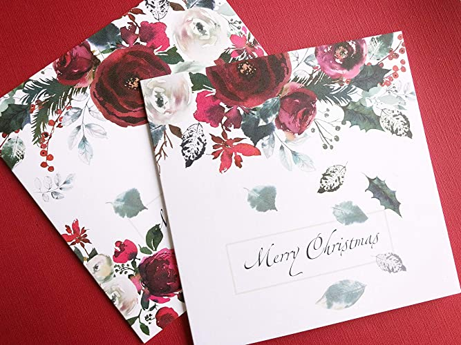Amazon Com 12x Handmade Luxury Christmas Cards In 2 Designs With