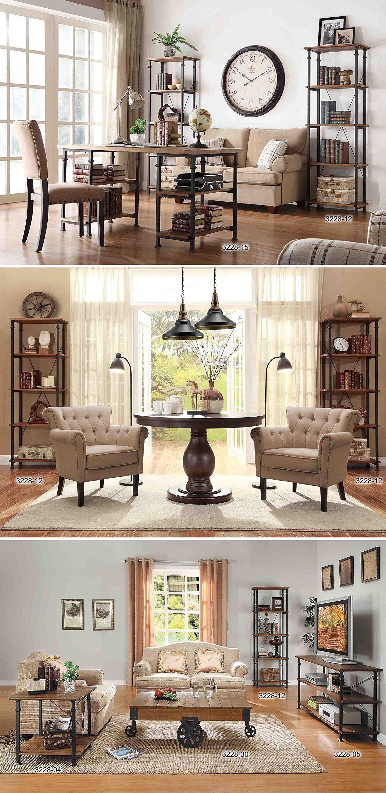 Homelegance Factory Modern Industrial Style Sofa Table, Rustic Brown 5