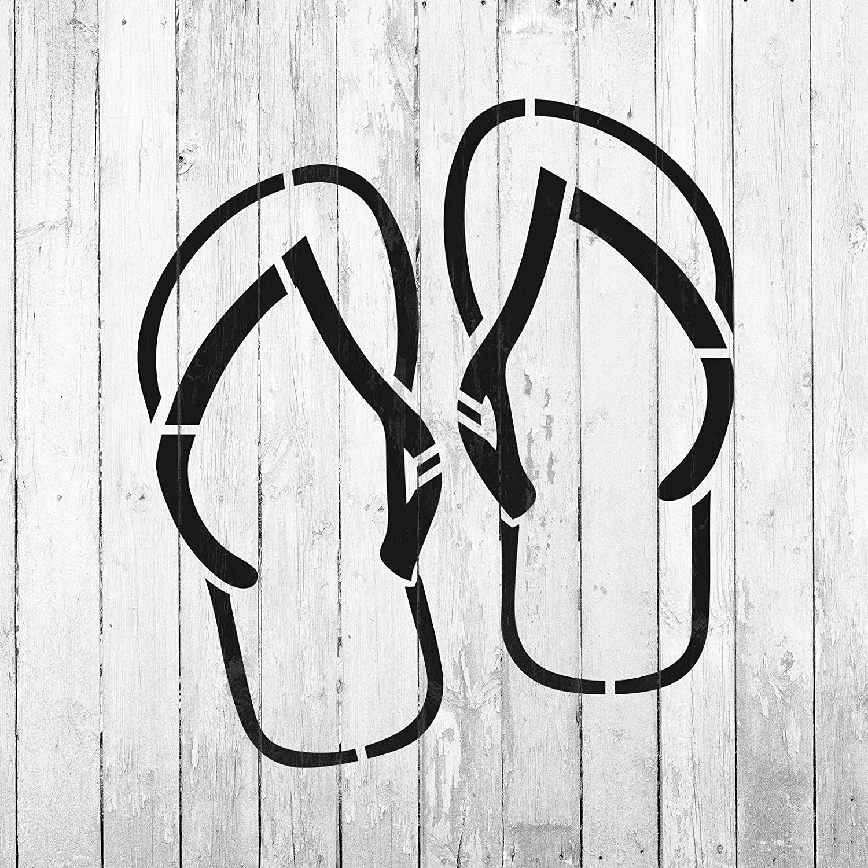 8bb81e346 Amazon.com  Flip Flops Stencil Template - Reusable Stencil with Multiple  Sizes Available