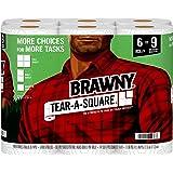 Brawny Tear-A-Square Paper Towels, 6 Giant Rolls = 9 Regular Rolls, 3 Sheet Size Options, Quarter Size Sheets