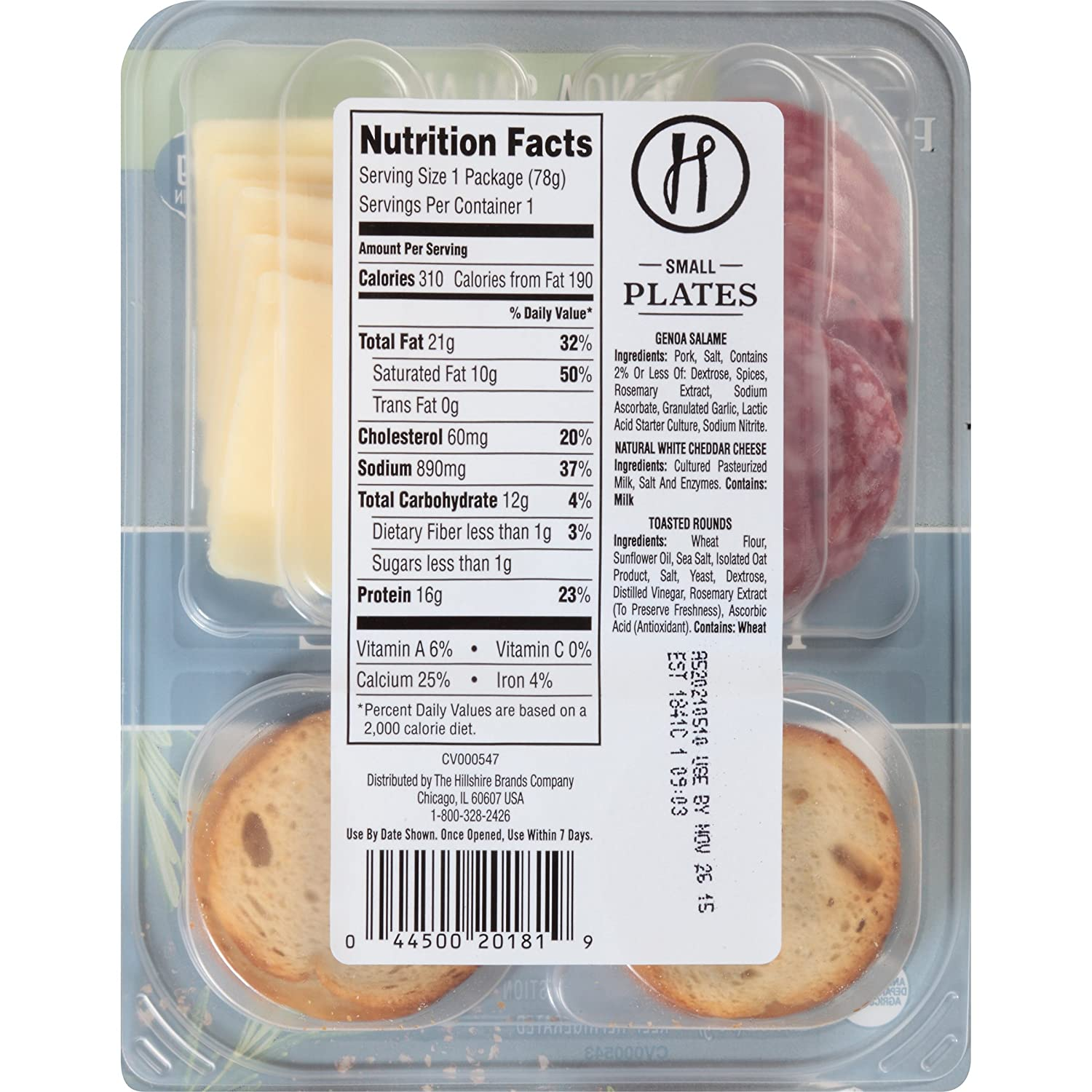 Hillshire Snacking Small Plates Genoa Salame And White Cheddar Cheese 2 76 Oz 12 Count Amazon Com Grocery Gourmet Food
