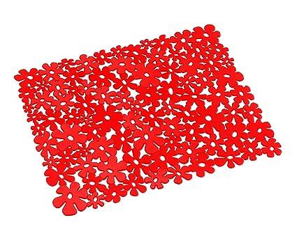 Sinonimo Di Lavandino Della Cucina.Wenko 2002020100 Tappetino Per Lavello Floreale Colore Rosso