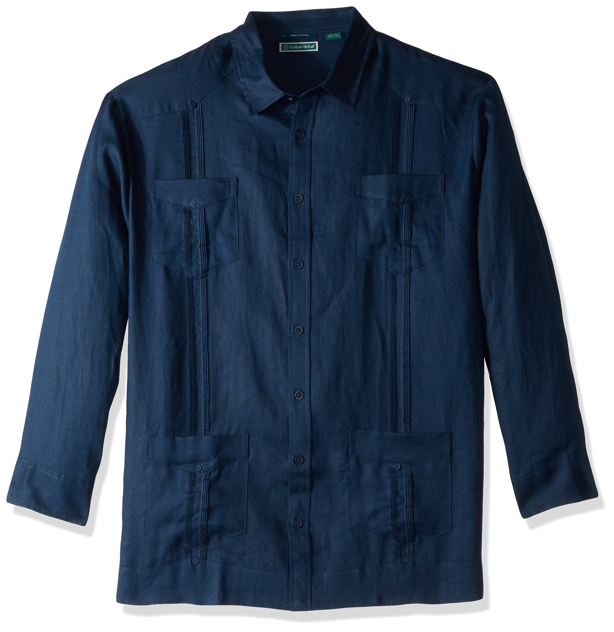 Cubavera Men's Big and Tall Long-Sleeve 100% Linen Guayabera Shirt, Dress Blues, 3X