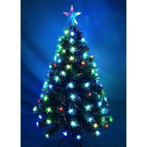 CHRISTMAS TREE GREEN FIBRE OPTIC LED MULTI COLOR CHANGING LIGHTS FREE