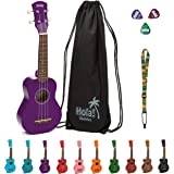 Soprano Ukulele Bundle by Hola! Music, HM-21PP Color Series with Aquila strings, Canvas Tote Bag, Strap and Picks - Purple