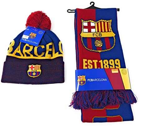 0e1f66a6cae Image Unavailable. Image not available for. Color  FC Barcelona Soccer  Scarf Official Licensed and Barcelona Beanie ...