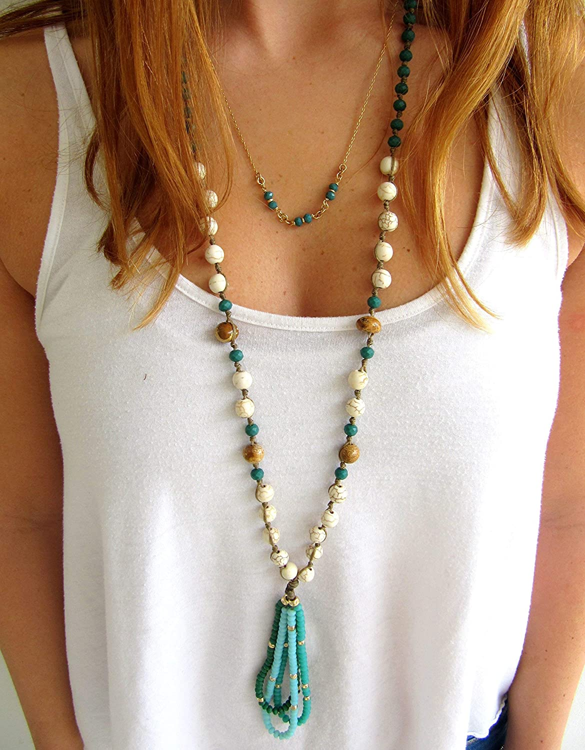 Boemian Handmade necklace with real stone white howlite gemstone