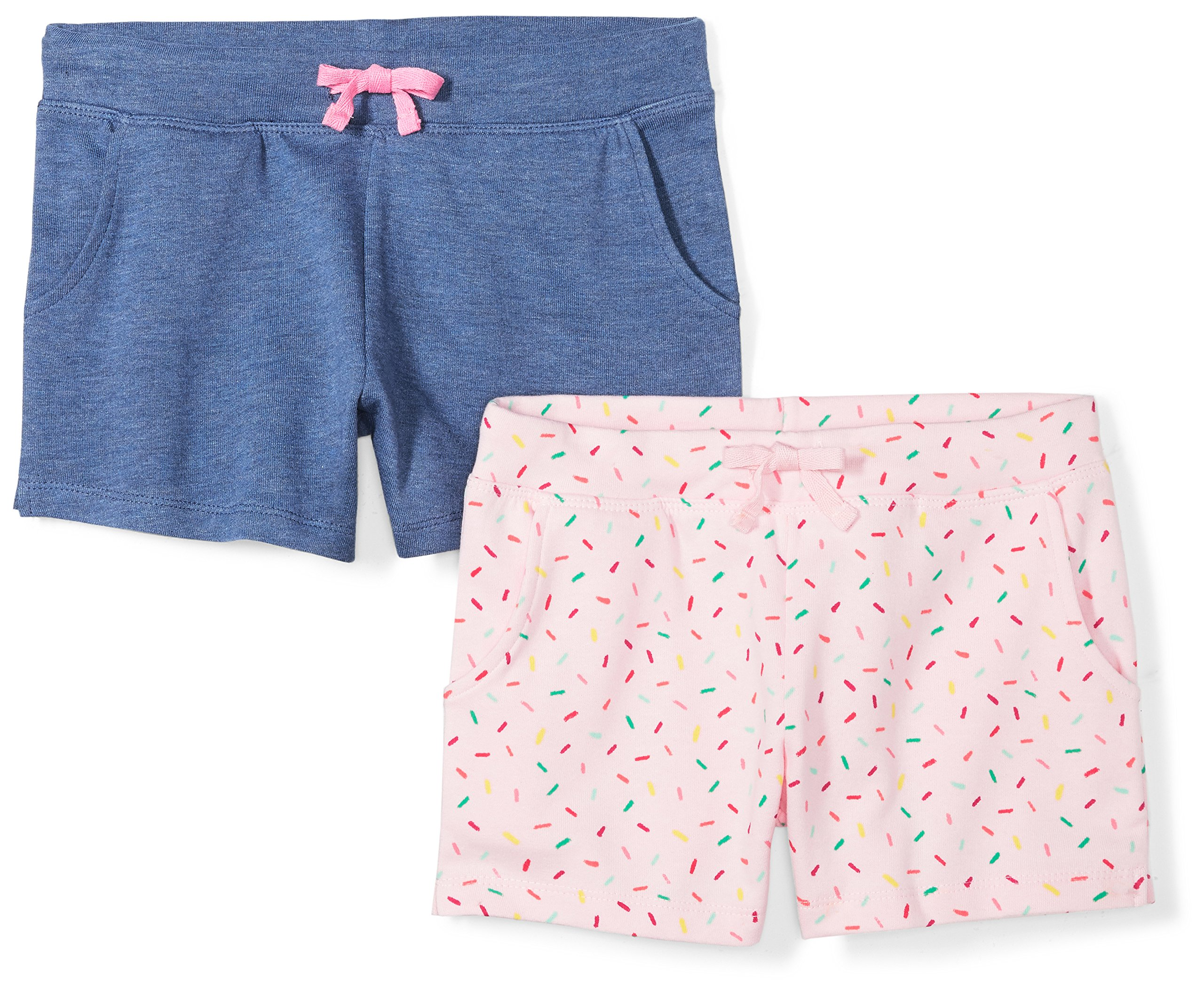 Spotted Zebra Little Girls' 2-Pack French Terry Knit Shorts, Sweets, Small (6-7)