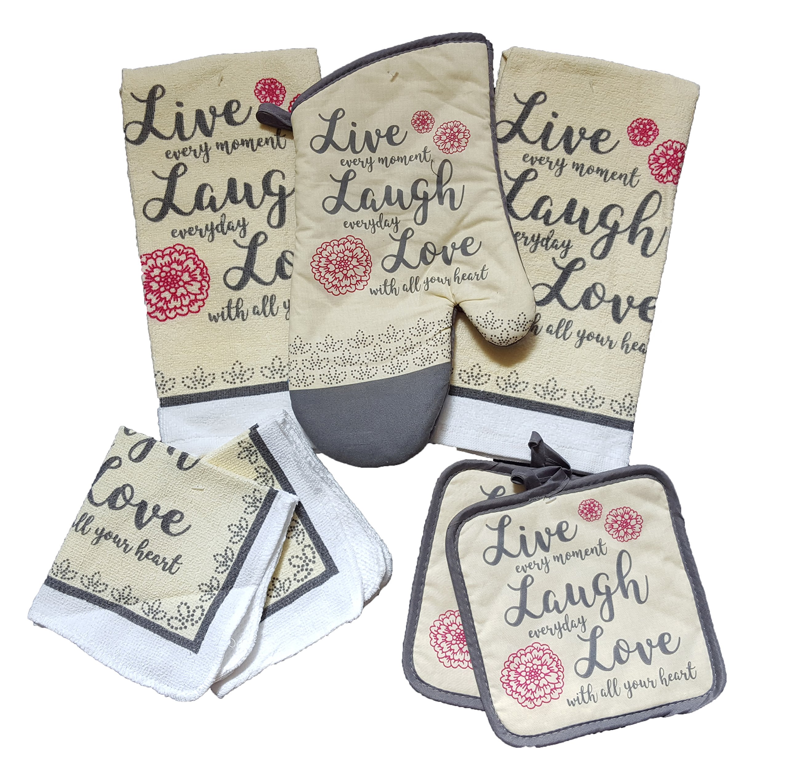 Inspirational Sentiment Kitchen Linen 7 Piece Bundle - With 2 Dish Towels, 2 Dishcloths, 2 Potholders, and 1 Oven Mitt (Live Laugh Love)