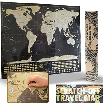 Deluxe Scratch Off World Map Poster Black And Gold With Silver - Black and gold world map