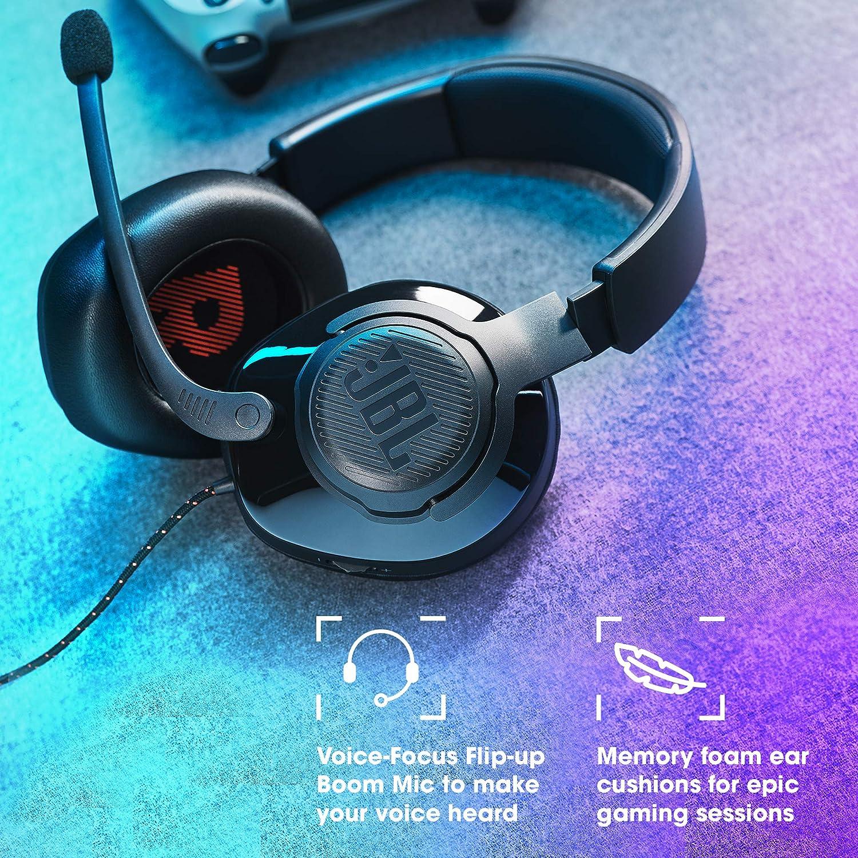 JBL Quantum 200 Auriculares para gamers con sonido QuantumSOUND y micrófono, con un diseño llamativo, compatible para PC y consola, color negro
