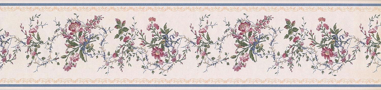 Wei/ß Blau Gold Royal Floral Tapete Bord/üre 31616150